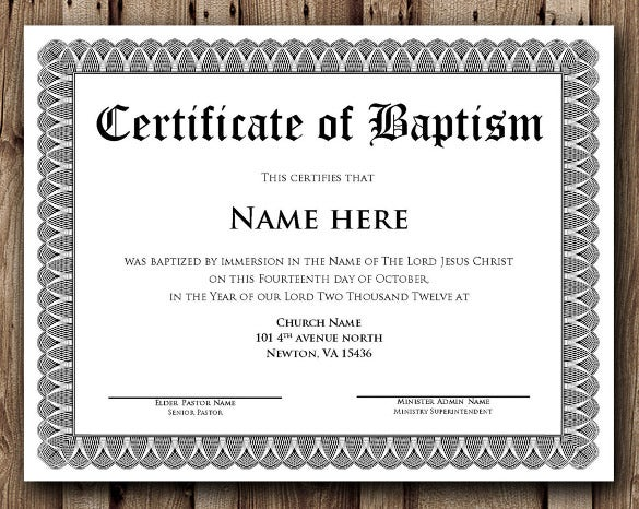 baptism certificate word editable template