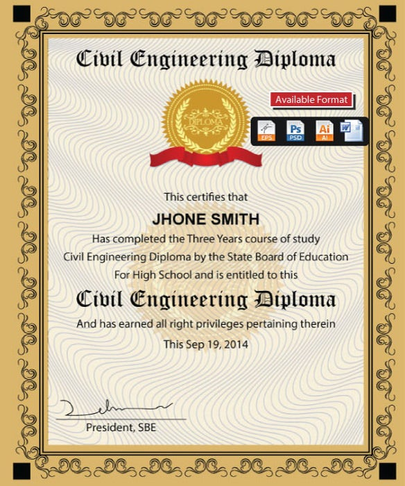 Educational Certificate Word Format Template  Diploma Word Template