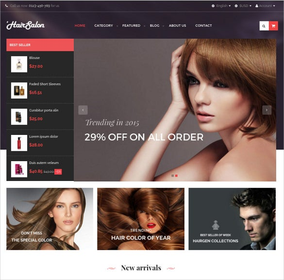 free hair salon prestashop theme