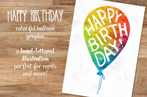 Happy Birthday Balloon Illustration For Download
