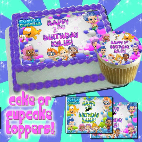 personalized bubble guppies edible cake image