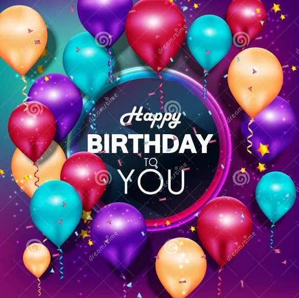 colorful balloons happy birthday on purple background image