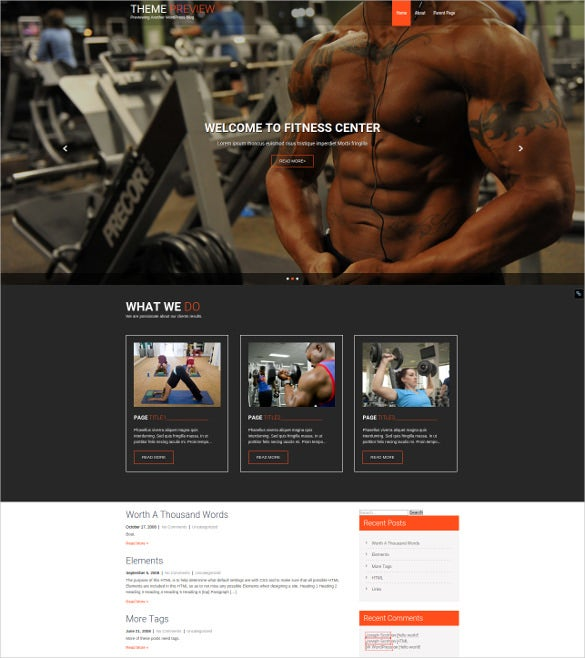 responsive fitness wodpress theme