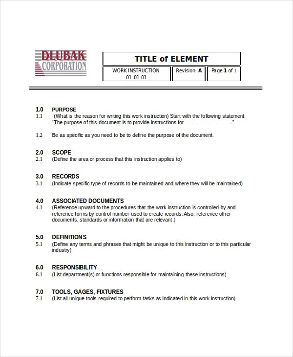 Writing Instruction Templates   Free Word Pdf Document