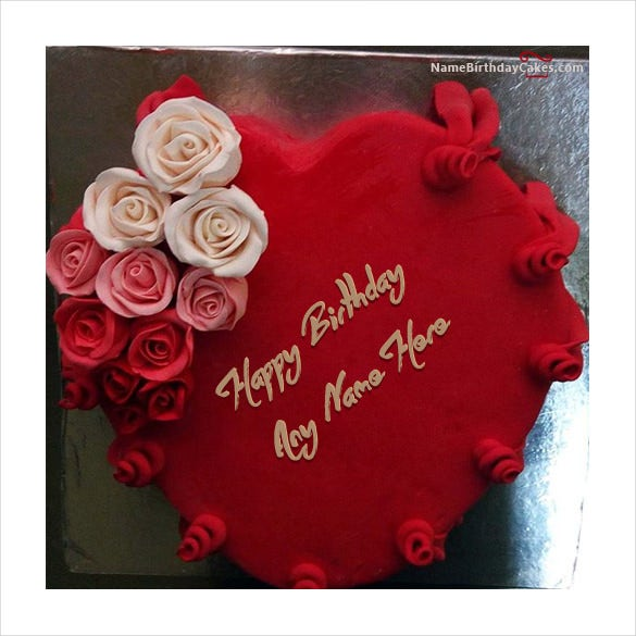 best heart red velvet birthday cake with name image download