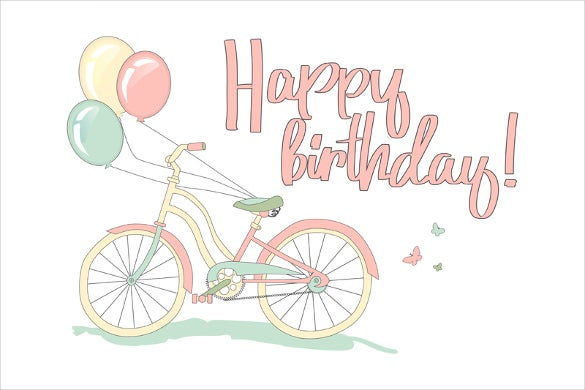 bicycle happy birthday image illustration download