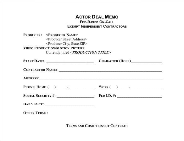 Superior Actor Deal Memo Template PDF Format Download For Project Memo Template