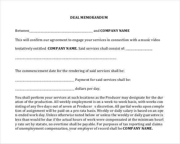 template for deal memo between emplyee and comany