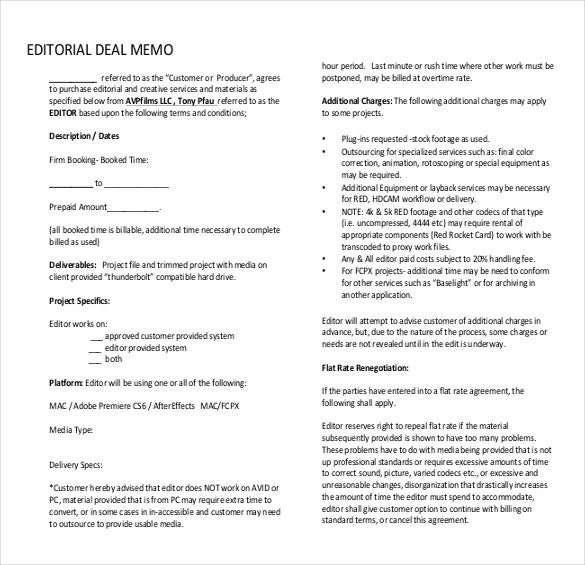 Deal Memo Template – 10+ Free Word, PDF Documents Download | Free ...