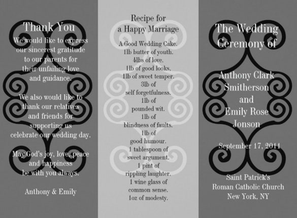 wedding brochure template with dark background