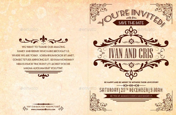 vintage wedding brochure template for download