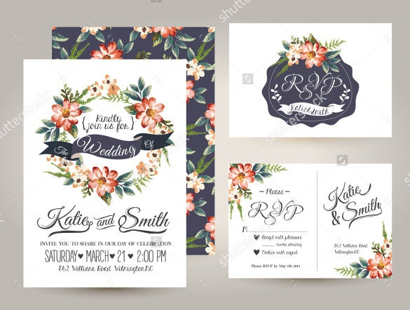 floral designed wedding brochure template for download