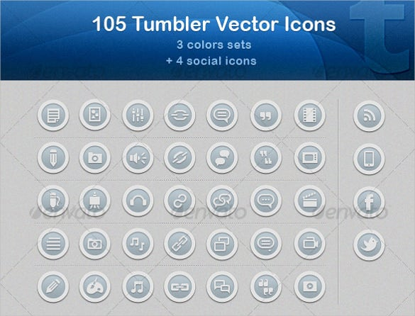 105 tumbler vector icons set download