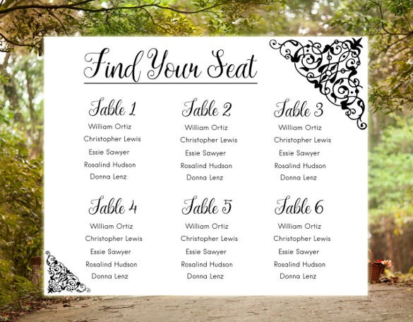 wedding chart template for instant download
