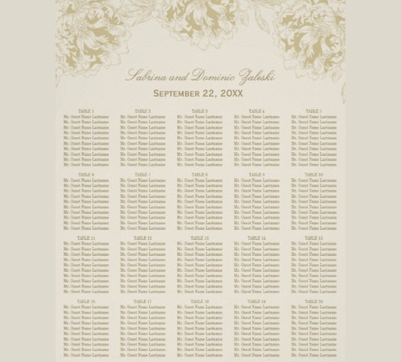 simply designed wedding chart template for download