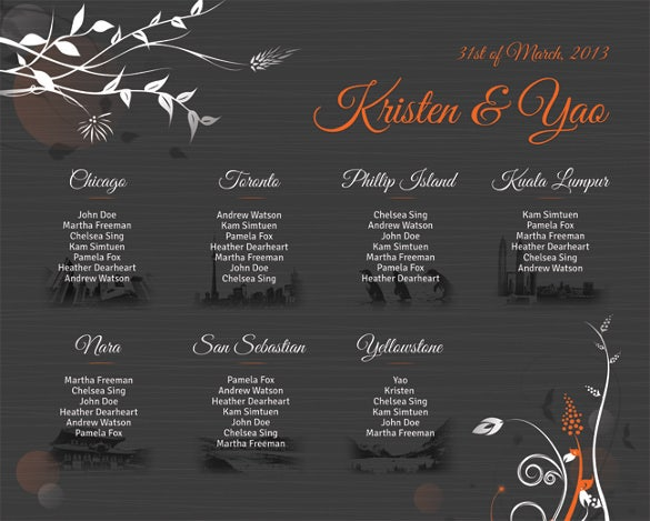 beautiful wedding chart template for free download
