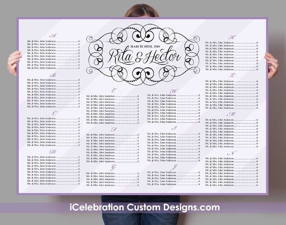 simple clear wedding chart template for download