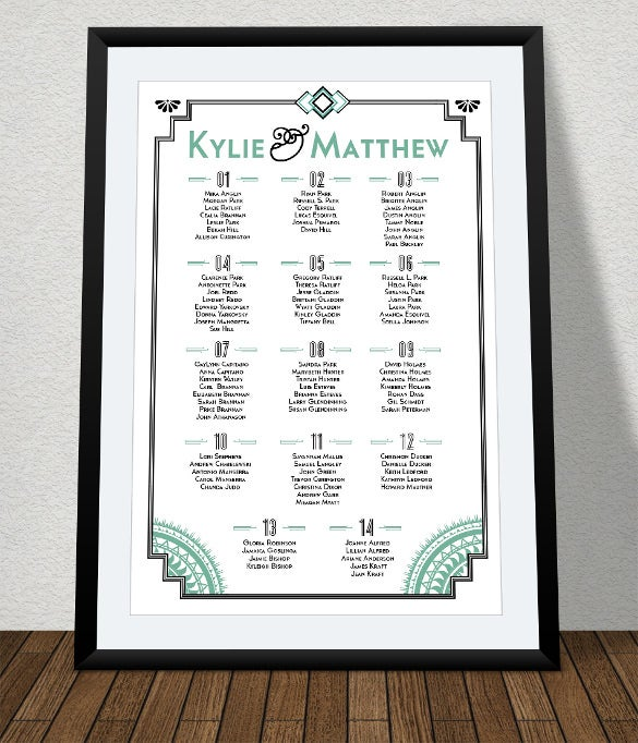 a4 size wedding chart template for download