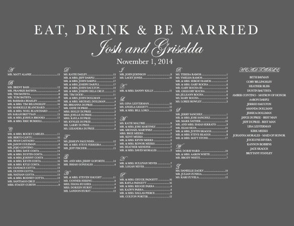 dark background wedding chart template for download