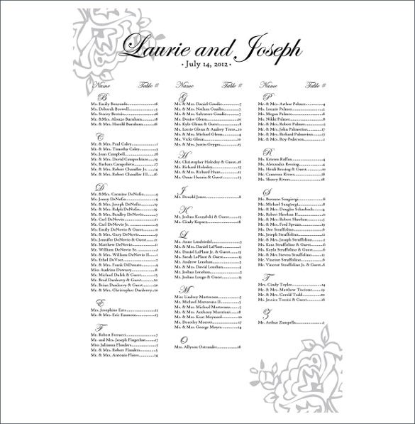 simple wedding chart template free download
