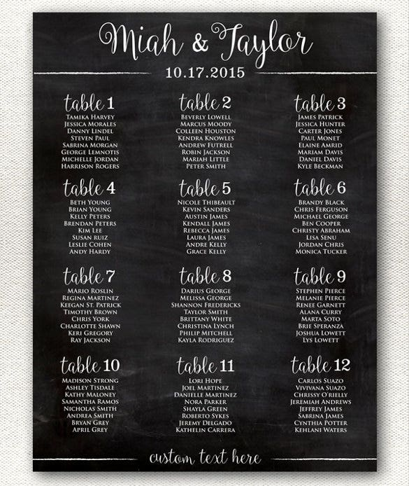 black background wedding chart template for download