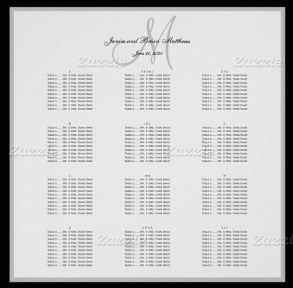 ready to print wedding chart template1