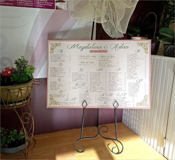 wedding chart template for corporate style wedding