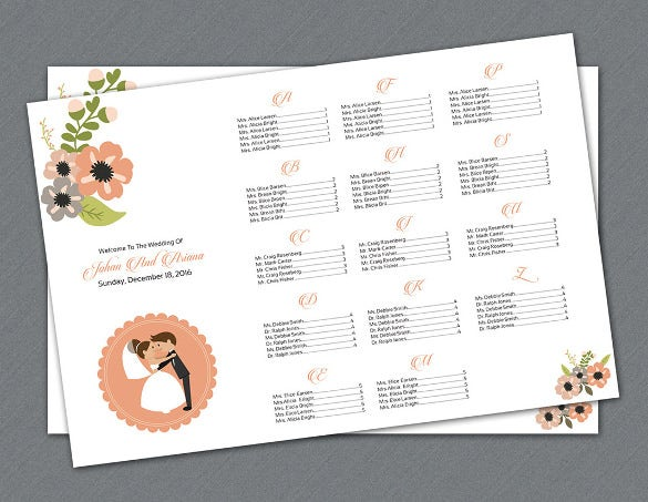 easy to edit wedding chart template