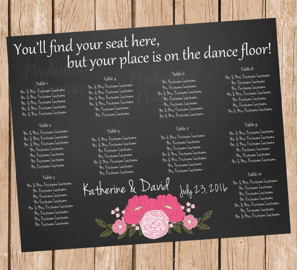 designed wedding chart template for download