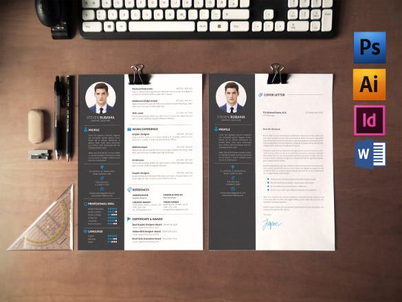 clean modern layout cover letter template word