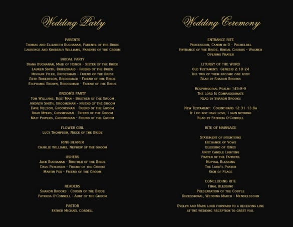 black background wedding program template for download