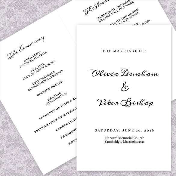 simple wedding program template for download