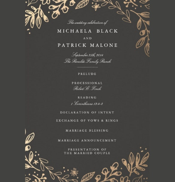 designed wedding program template for download