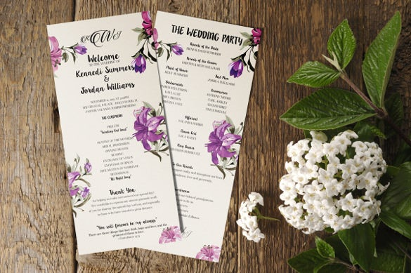 Wedding Program Templates  Free Sample Example Format