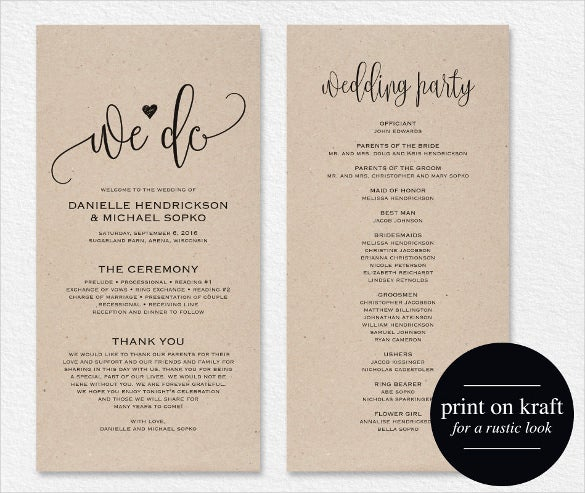 printable wedding program template for download