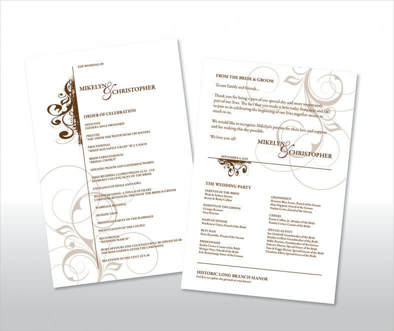 20 Wedding Program Templates Free Sample Example