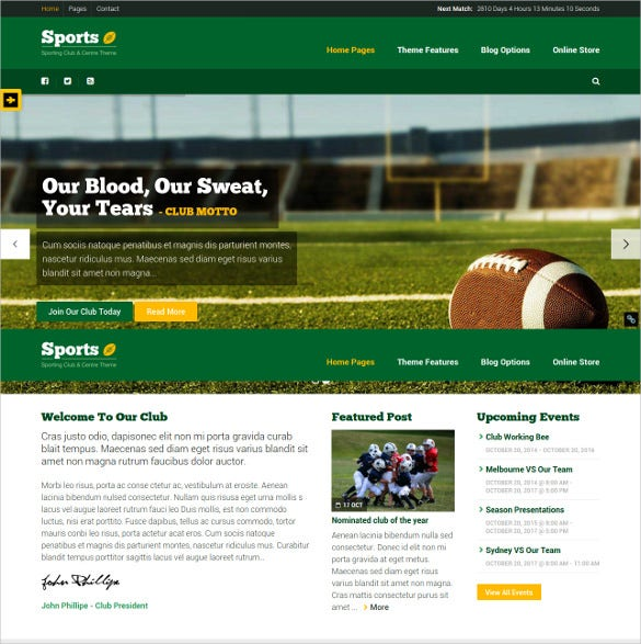 sports club wordpress theme