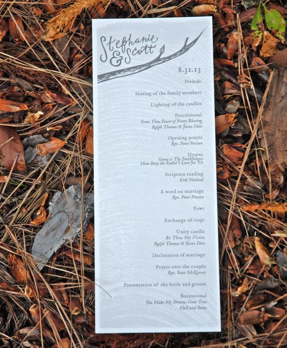elegant wedding program template for download