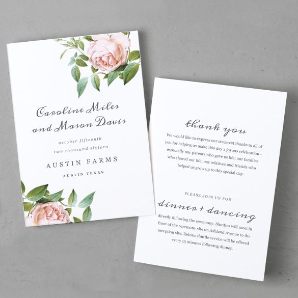 Wedding Program Templates Free Sample Example Format - Floral wedding program templates
