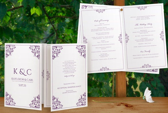 simply designed wedding program template for download