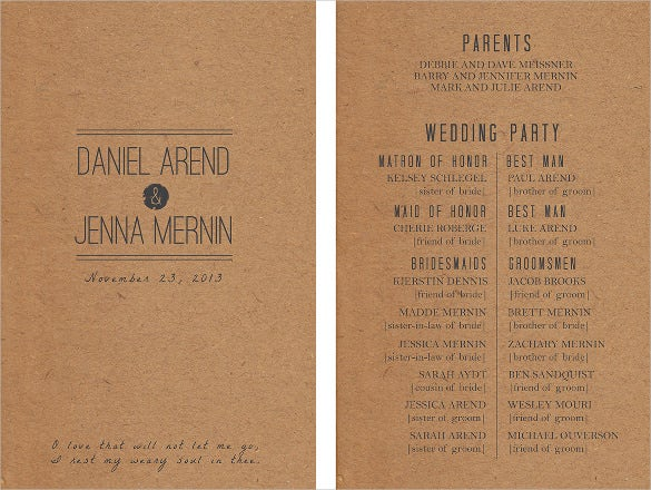 retero wedding program template for download