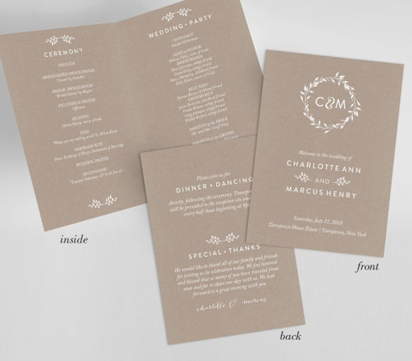 wedding program template for instant download