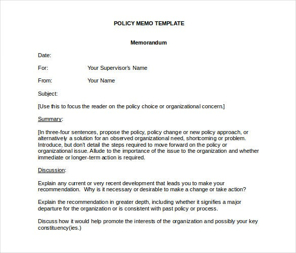 Policy Memo Template Free Word Pdf Documents Download  Free