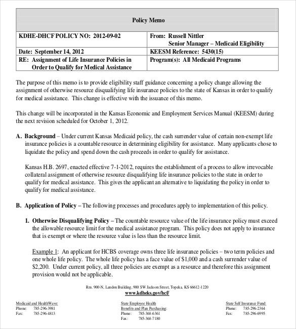 life insurance assignment polocy memo document download in pdfjpg