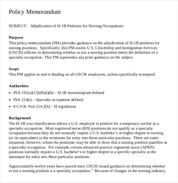 pdf document download for nurses policy memo template
