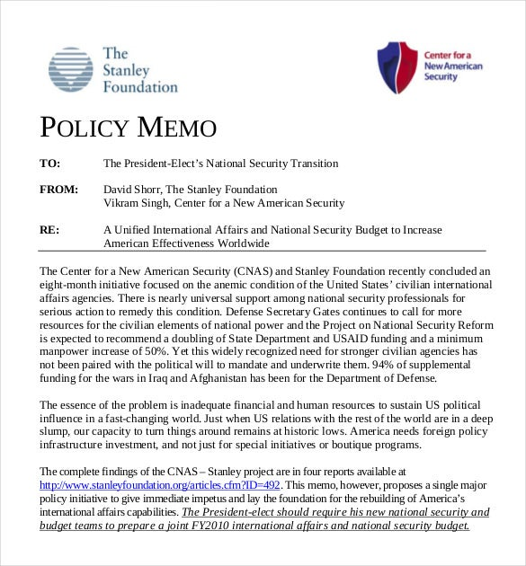 pdf template for joint budget memo polocy