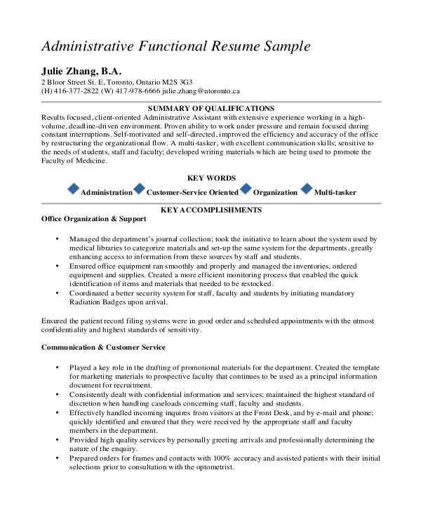 Administrative Functional Resume Template PDF Format