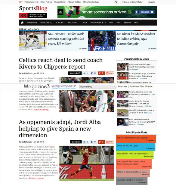 sports news blog wordpress theme