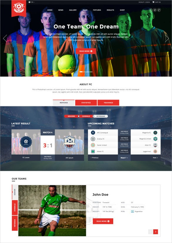 football sport club wordpress template
