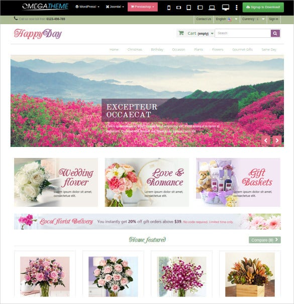 modern flower prestashop theme